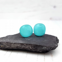 Turquoise Fused Glass Studs
