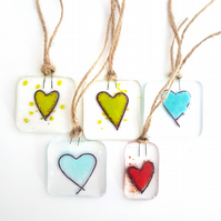 Fused Glass Heart Decorations
