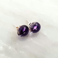 Purple Fused Glass Stud Earrings
