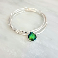 Dichroic Glass and Sterling Silver Bangle Set