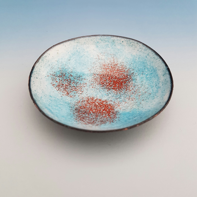 Turquoise and Orange Enamel Bowl