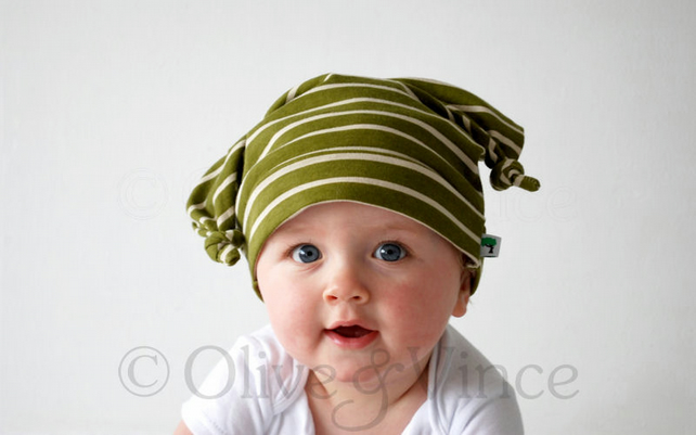 Olive green and cream striped bug hat knot top toddler or baby beanie skull cap