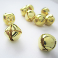 10 gold jingle bell charms - Christmas - 10mm