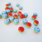 50 small multicoloured rainbow fun stripey stripe resin round beads - 8mm