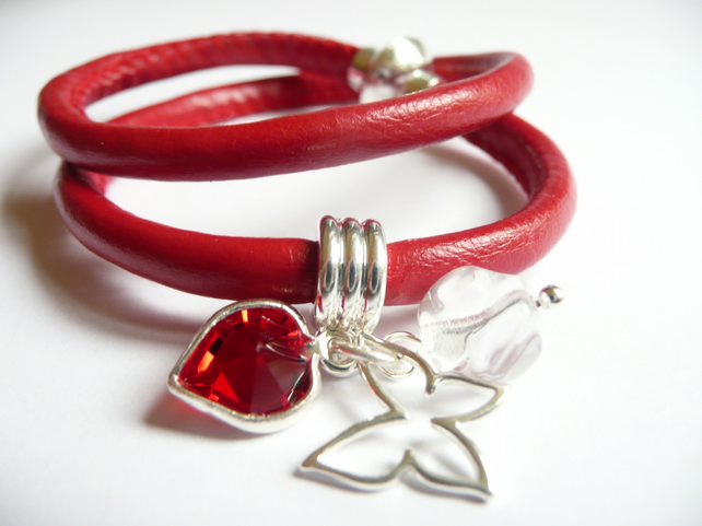 Double-wrap red leather bracelet