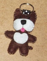 Dog Dark Brown & White Felt Key Ring