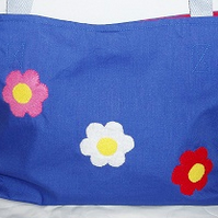 Royal Blue Medium Tote Bag with Felt flower motif