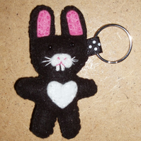 Rabbit Black & White Felt Key Ring-Bag Charm