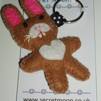Rabbit Mid Brown & White Felt Key Ring-Bag Charm