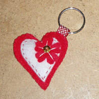 Red Heart with White Heart inset & Red Flower Felt Key Ring-Bag  Charm