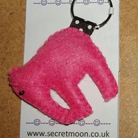 Elephant Pink Felt Key Ring-Bag Charm