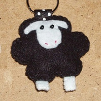 Sheep Black Felt Key Ring-Bag Charm