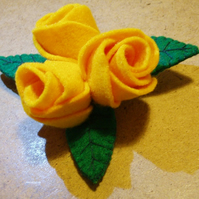 Three Dark Yellow Felt Roses Brooch Large