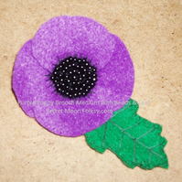 Poppy Purple Felt Brooch, Beaded centre with Leaf, Medium