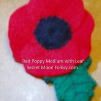 Poppy Red Felt Brooch with Leaf, Medium