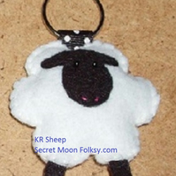 Sheep White Felt Key Ring-Bag Charm