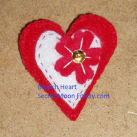 Red Felt Heart with White Heart inset and Red felt flower Brooch