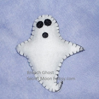 Halloween Ghost White Felt Brooch