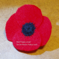 Poppy Red Felt Brooch, Small