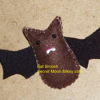 Bat Brown Felt Brooch