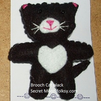 Cat Black & White Felt Brooch