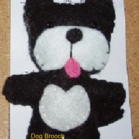 Dog Black & White Felt Brooch
