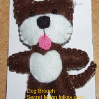 Dog Dark Brown & White Felt Brooch