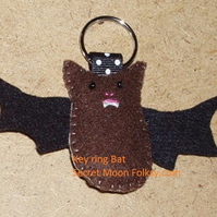 Bat Brown Felt Key Ring-Bag Charm-Zip Pull
