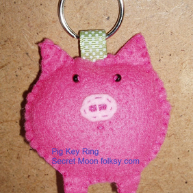 Pig Pink Felt Key Ring-Bag Charm