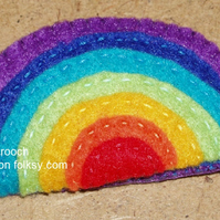 Rainbow Bright Felt Brooch