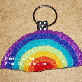 Rainbow Bright Felt Key Ring-Bag Charm-Zip Pull