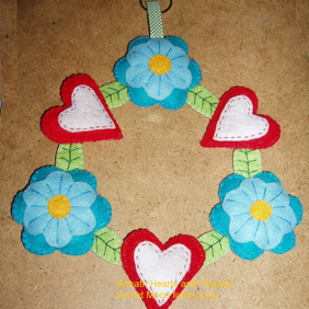 Wall Hanger Wreath Red Felt Hearts & Blue Felt Flowers
