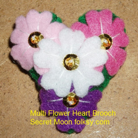 Multi Flower in Pinks Felt Brooch Small Heart