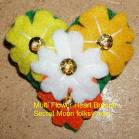 Multi Flower in Yellows Felt Brooch Small Heart