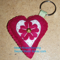 Dark Rose Pink Heart, White Heart inset & Dark Rose Pink Flower Felt Keyring