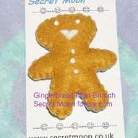 Gingerbread Man Mid-Brown Felt Brooch