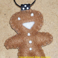 Gingerbread Man Mid-Brown Felt Key Ring-Bag Charm-Zip Pull