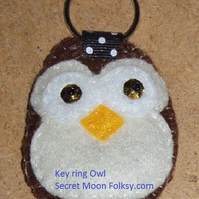 Owl Brown Felt Key Ring-Bag Charm-Zip Pull eyes open