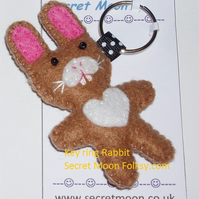 Rabbit Mid-Brown & White Felt Key Ring-Bag Charm-Zip Pull