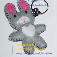 Rabbit Grey & White Felt Ring-Bag Charm-Zip Pull