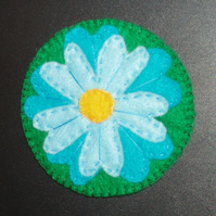 Five Petal Flower Blue Felt Coaster