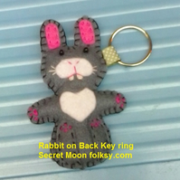 Rabbit on Back, Grey & White Felt Ring-Bag Charm-Zip Pull