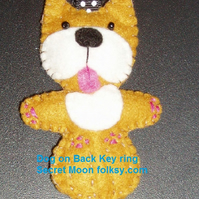 Dog on Back Light Brown & White Felt Key Ring-Bag Charm-Zip Pull