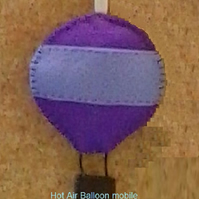 Hot Air Balloon with two clouds Felt Mobile-Wall Hanger
