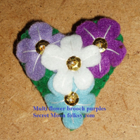 Multi Flower in Purples Felt Brooch Small Heart