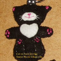 Cat on back Black Felt Key Ring-Bag Charm-Zip Pull with white chest & muzzle