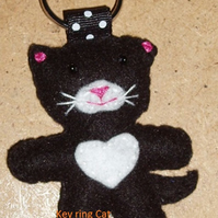 Cat Black & White Felt Key Ring-Bag Charm