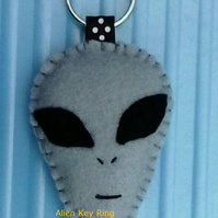 Alien Grey Felt Key Ring-Bag Charm