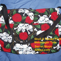 Messenger Tote Bag Skull & Roses Large