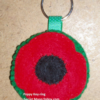 Remembrance Day Poppy Red Felt Key Ring-Bag Charm